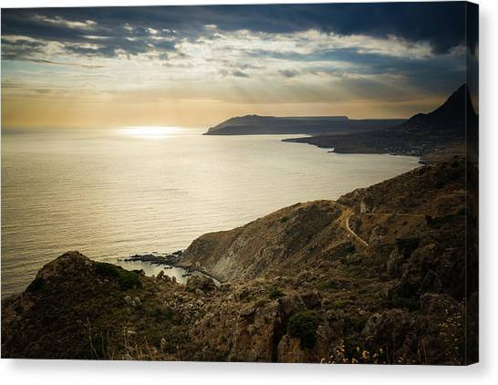 Canvas Print featuring the photograph Sunset Near Tainaron Cape by Milan Ljubisavljevic