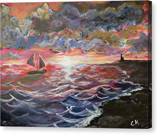 Canvas Print featuring the painting Sunset Of The Sea by Chance Kafka