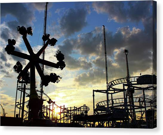 Sunset On Coney Island Canvas Print