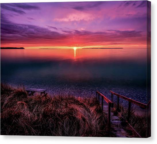 Sunset On Good Harbor Bay Canvas Print