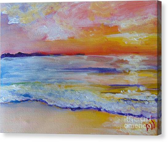 Canvas Print featuring the painting Sunset On The Gulf by Saundra Johnson