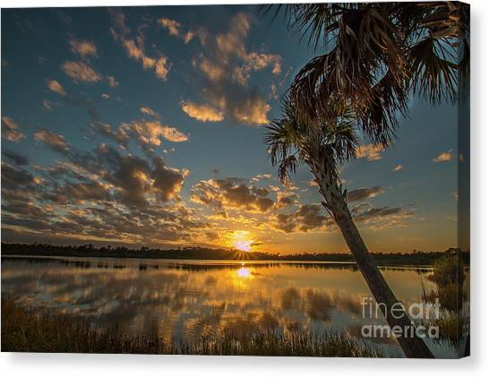Canvas Print featuring the photograph Sunset On The Pond by Tom Claud
