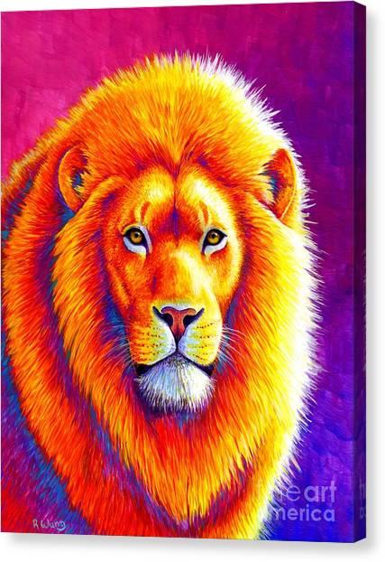 Sunset On The Savanna - African Lion Canvas Print