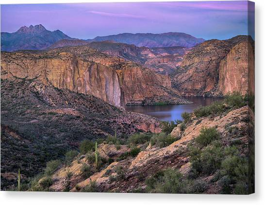 Sunset Over Canyon Lake And Four Peaks Canvas Print