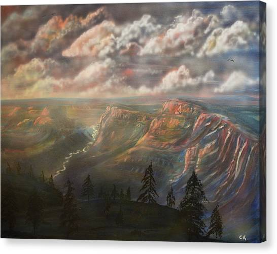 Canvas Print featuring the painting Sunset Over The Grand Canyon At Desert View Point by Chance Kafka