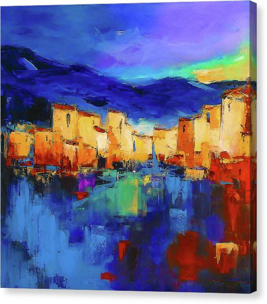 Night Canvas Print - Sunset Over The Village by Elise Palmigiani