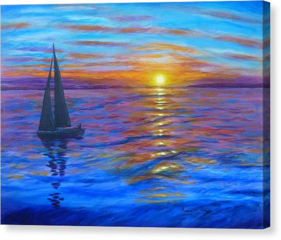 Canvas Print featuring the painting Sunset Sail by Amelie Simmons