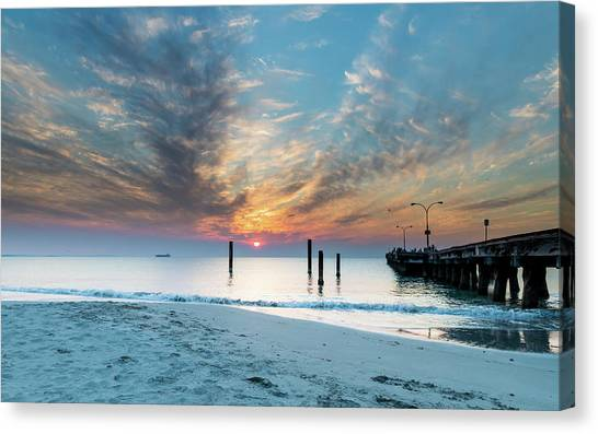 Sunset Seascape And Beautiful Clouds Canvas Print