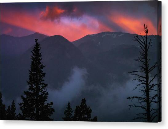 Sunset Storms Over The Rockies Canvas Print