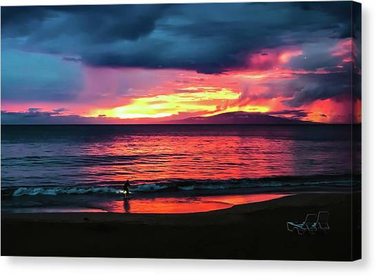 Bodyboard Canvas Print - Sunset Surf At Maui Hawaii by Athena Mckinzie