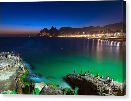 South American Canvas Print - Sunset View Of Ipanema In Rio De by Catarina Belova