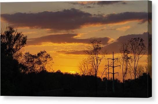 Sunset With Electricity Pylon Canvas Print