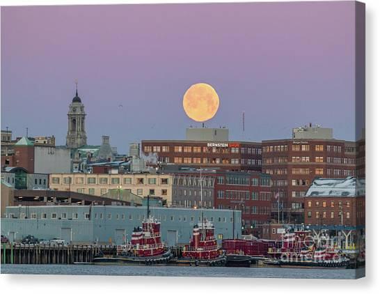 Super Snow Moon Over Portland Canvas Print