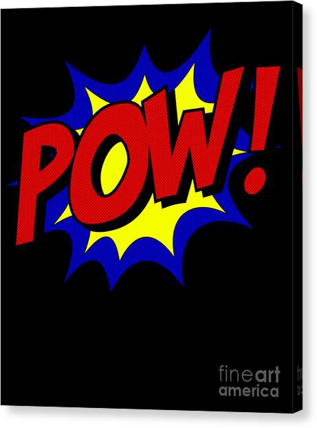 Canvas Print featuring the digital art Superhero Pow by Flippin Sweet Gear
