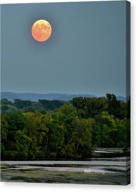 Supermoon On The Mississippi Canvas Print