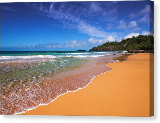 Surf And Sand On Secret Beach (kauapea Canvas Print by Russ Bishop