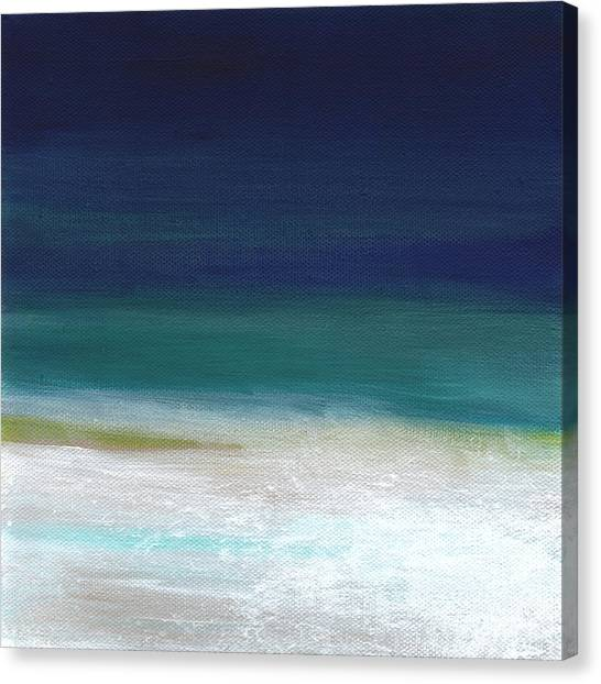 Surf Canvas Print - Surf And Sky- Abstract Beach Painting by Linda Woods