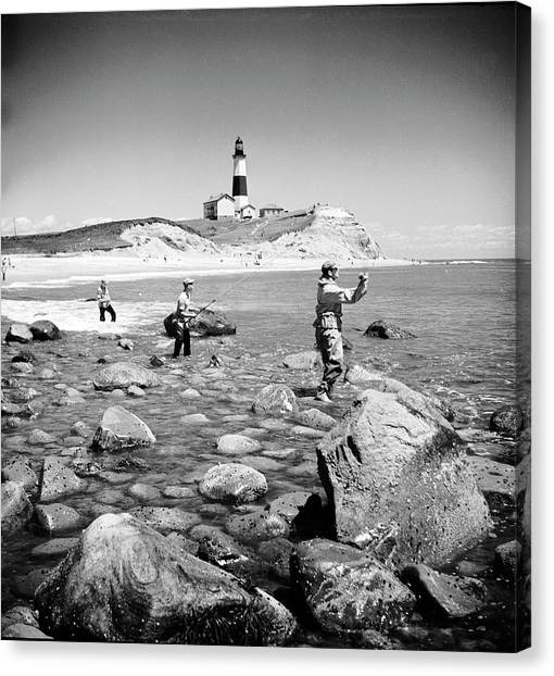 Surf Casting Fishermen Working The Canvas Print