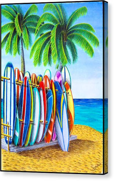 Surfboard Canvas Print - Surfboards On The Beach by Chad Brittain