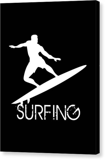 Surfboard Canvas Print - Surfer Silhouette In White On Black Background by Daniel Ghioldi