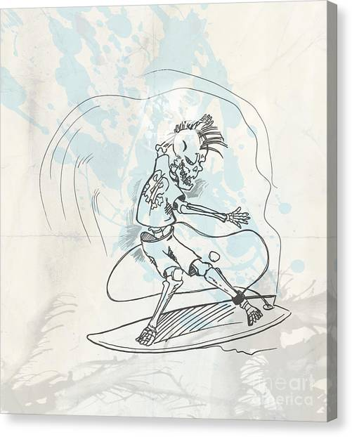 Surfboard Canvas Print - Surfer Skeleton Hand Drow On Wave by Domenico Condello