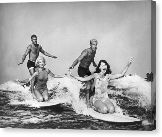 Surfers In California 1965 Canvas Print