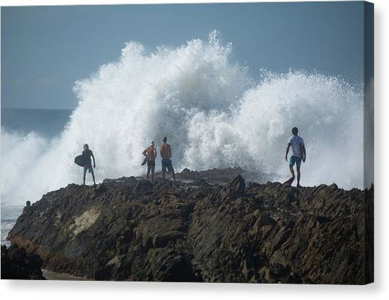 Bodyboard Canvas Print - Surfers On The Beach, Coral Sea by Panoramic Images
