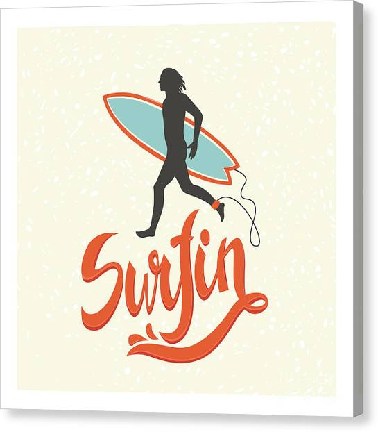 Sports Clothing Canvas Print - Surfing Calligraphy In Vector. Surfing by Nicetoseeya