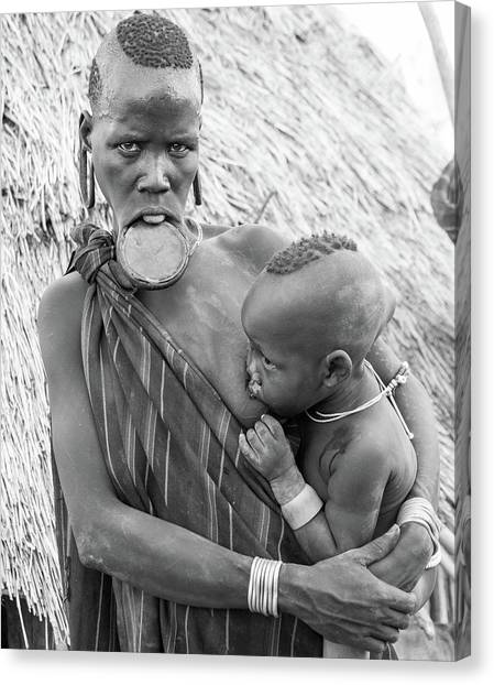 Mursi Mother And Child Canvas Print