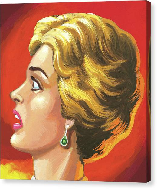 Surprised Short-haired Woman Canvas Print
