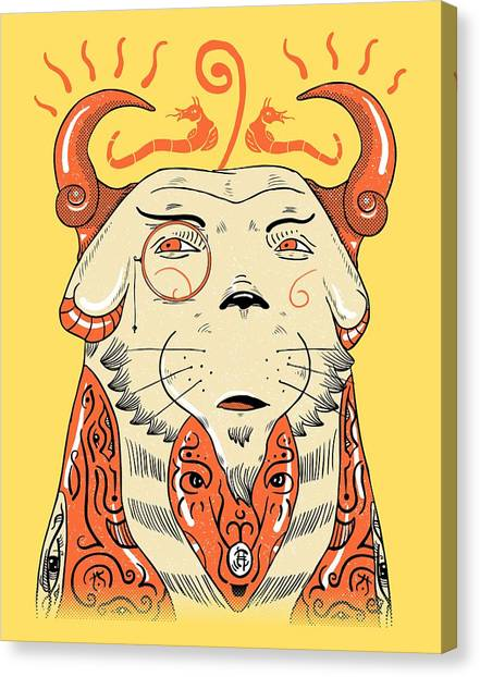 Canvas Print featuring the drawing Surreal Cat by Sotuland Art