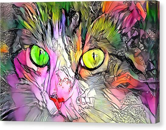 Surreal Cat Wild Eyes Canvas Print