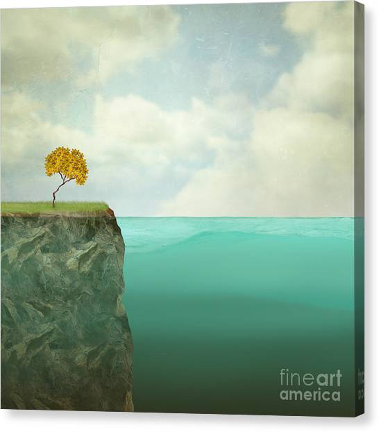 Surreal Illustration Of A Small Tree Canvas Print by Valentina Photos