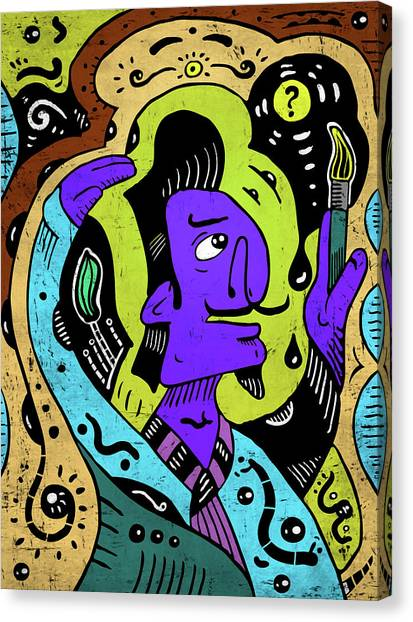 Canvas Print featuring the digital art Surreal Painter by Sotuland Art