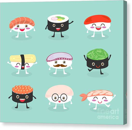 Ingredient Canvas Print - Sushi Set, Cute Sushi Set, Japanese by What's My Name