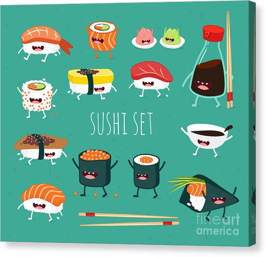 Ingredient Canvas Print - Sushi Set. Soy Sauce And Sushi Roll by Serbinka