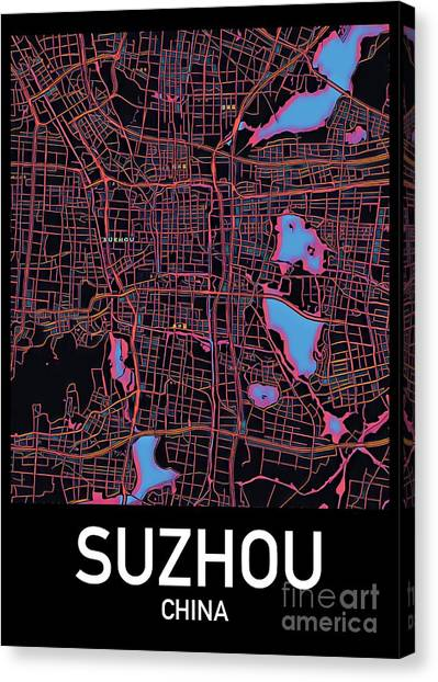 Suzhou City Map Canvas Print