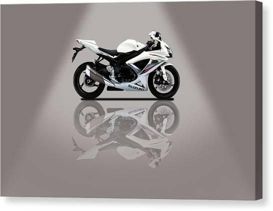 Suzuki Canvas Print - Suzuki Gsx-r Grey Spotlight by Smart Aviation