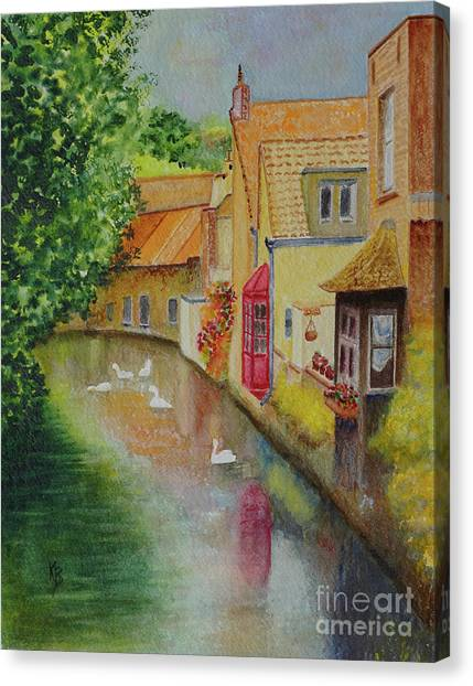 Canvas Print featuring the painting Swan Canal by Karen Fleschler