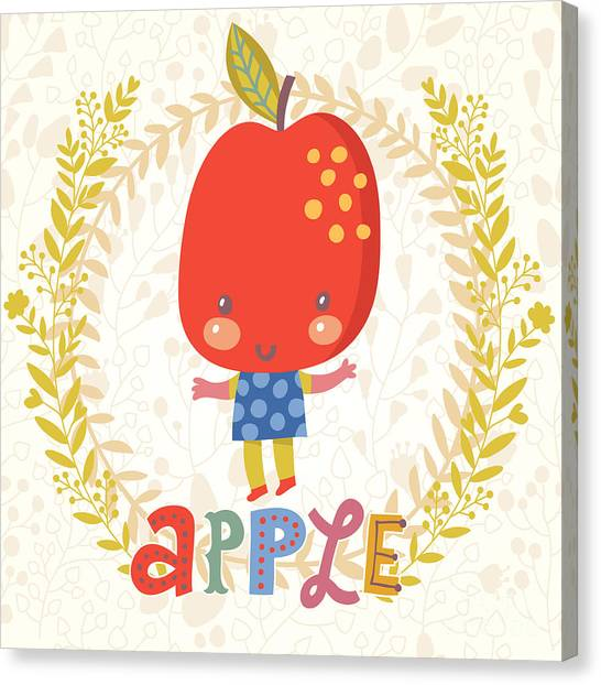 Fitness Canvas Print - Sweet Apple In Funny Cartoon Style by Smilewithjul
