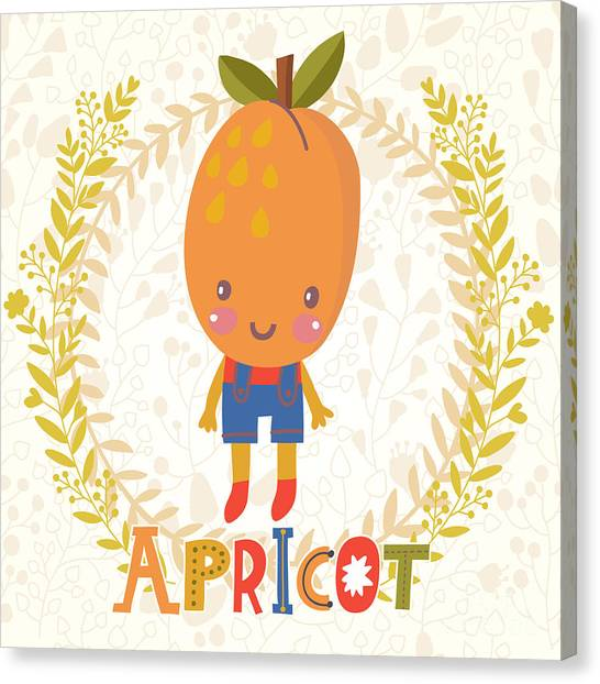 Fitness Canvas Print - Sweet Apricot In Funny Cartoon Style by Smilewithjul