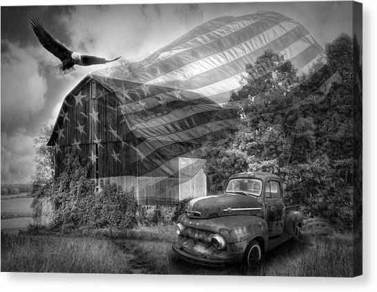 Rusty Truck Canvas Print - Sweet Land Of Liberty Black And White  by Debra and Dave Vanderlaan