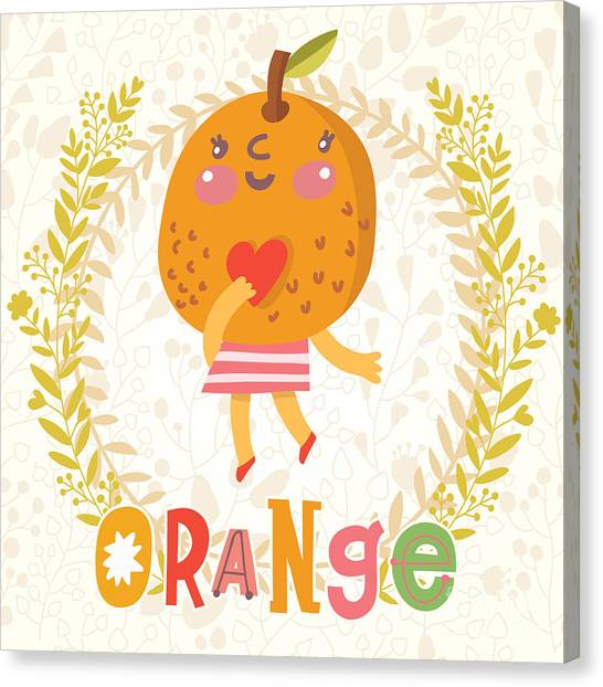 Fitness Canvas Print - Sweet Orange In Funny Cartoon Style by Smilewithjul