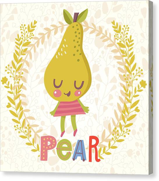 Fitness Canvas Print - Sweet Pear In Funny Cartoon Style by Smilewithjul