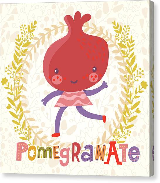 Fitness Canvas Print - Sweet Pomegranate In Funny Cartoon by Smilewithjul