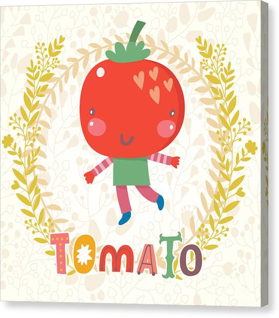 Fitness Canvas Print - Sweet Tomato In Funny Cartoon Style by Smilewithjul