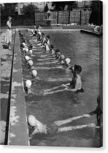 Swimming Lesson Canvas Print