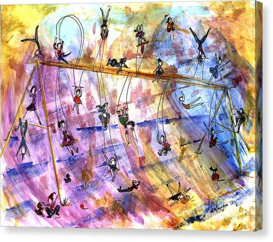 Balance Beam Canvas Print - Swingset Whimsy by Patty Donoghue