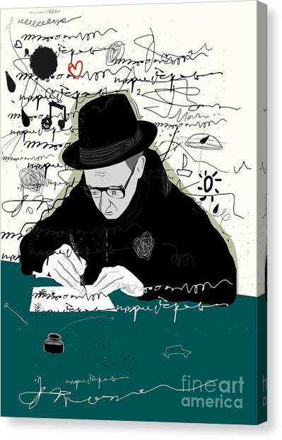 Illustration Canvas Print - Symbolic Image Of A Man Who Writes A by Dmitriip