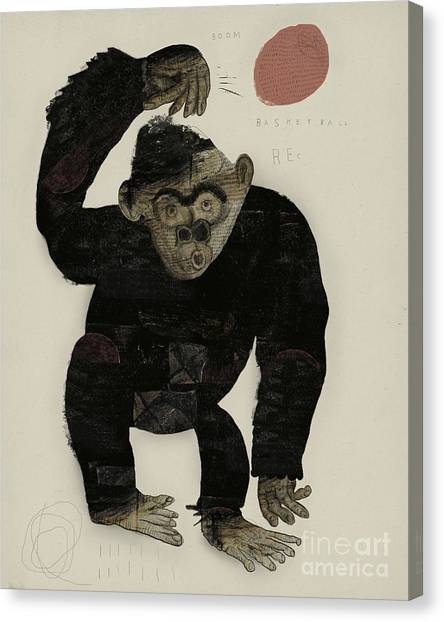 Fitness Canvas Print - Symbolic Image Of A Monkey That Throws by Dmitriip